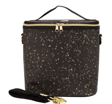 SoYoung Black Paper Gold Splatter Lunch Poche