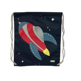 Bobble Art Drawstring Swim Library Bag Rocket