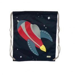 Bobble Art Drawstring Swim Library Bag Rocket