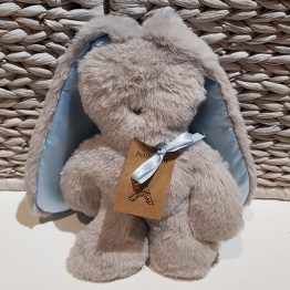 Petite Vous Flat Bunny Grey with Blue Ears