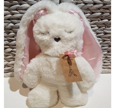 Petite Vous Flat Bunny White with Pink Ears
