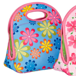 Go Gourmet Junior Lunch Tote Blue Flowers