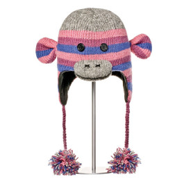 Knitwits Purple Stripe Sock Monkey Animal Hat