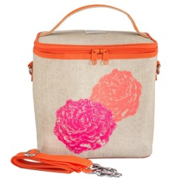 So Young Cooler Bag Pink Peonies. Ladies Lunch bag.
