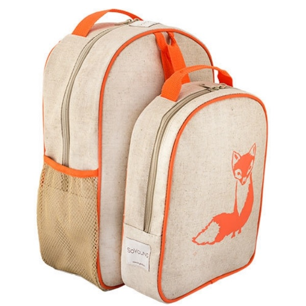 SoYoung Eco Linen Toddler Backpack & Lunch Box Set Orange Fox ...