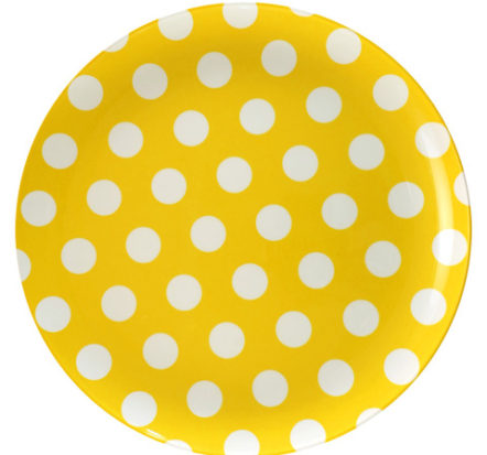 melamine-plate-yellow-white-dots-20cm
